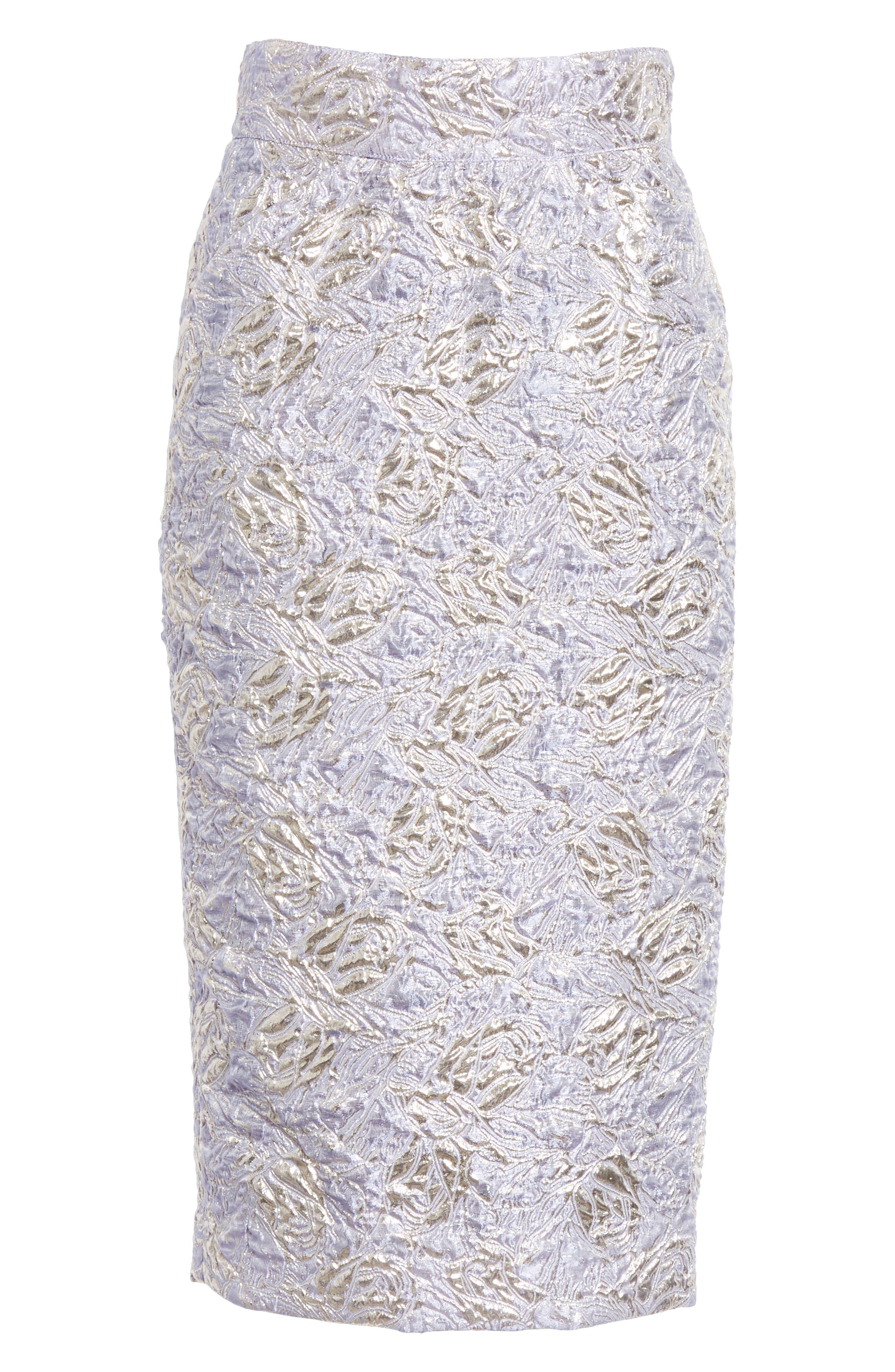,                             Lauren Brocade Pencil Skirt,                             Alternate thumbnail 6, color,                             LILAS