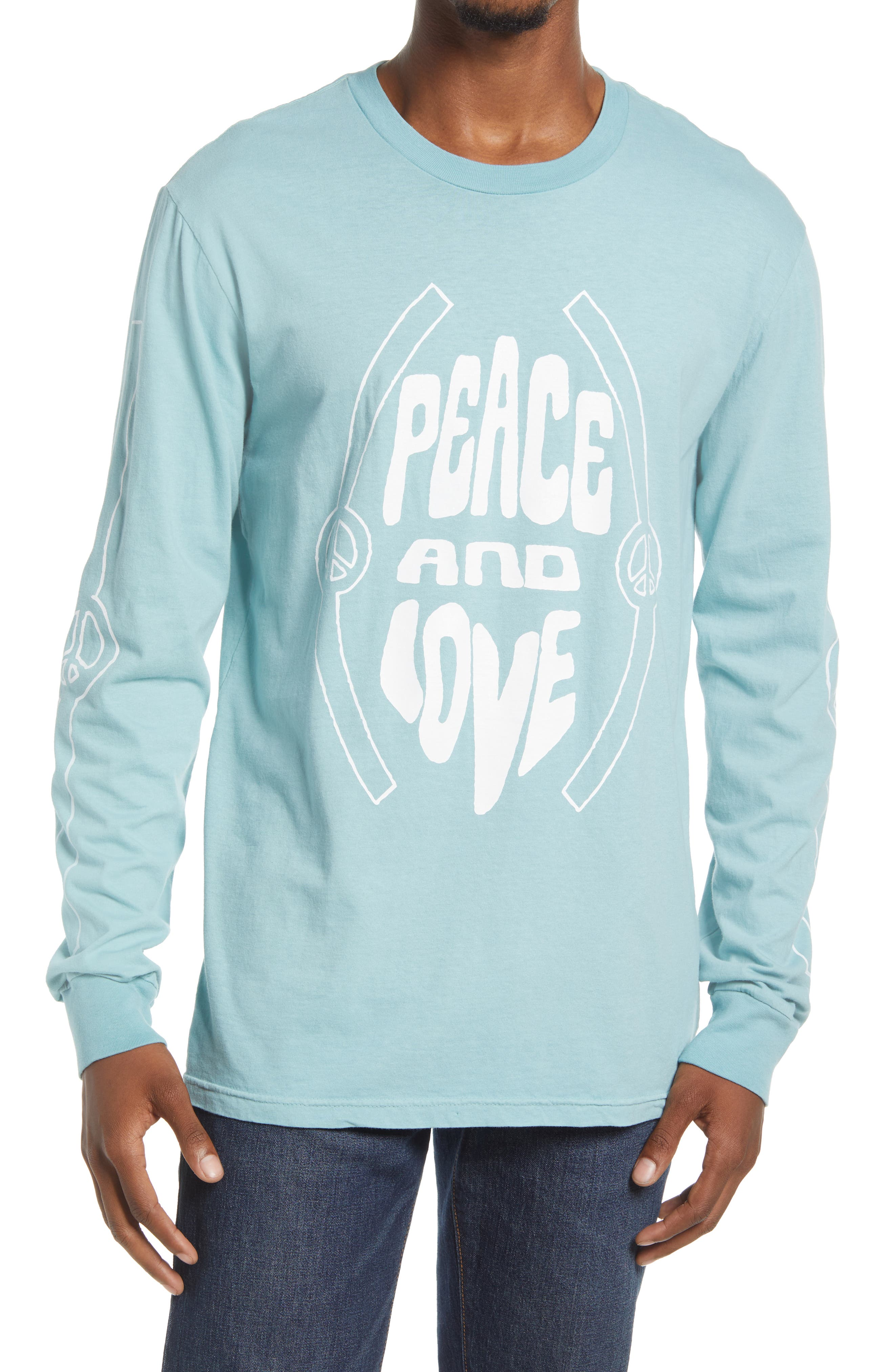 Men's Peace And Love Long Sleeve Graphic Tee