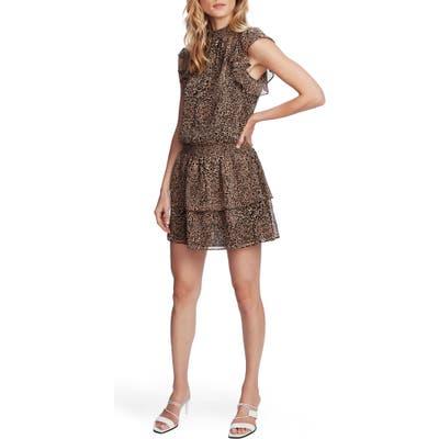 1.state Leopard Print Smocked Flutter Sleeve Dress