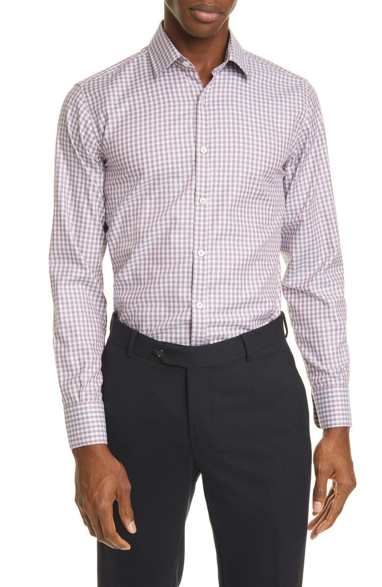 CANALI Classic Fit Check Button-Up Shirt, Main, color, BERRY
