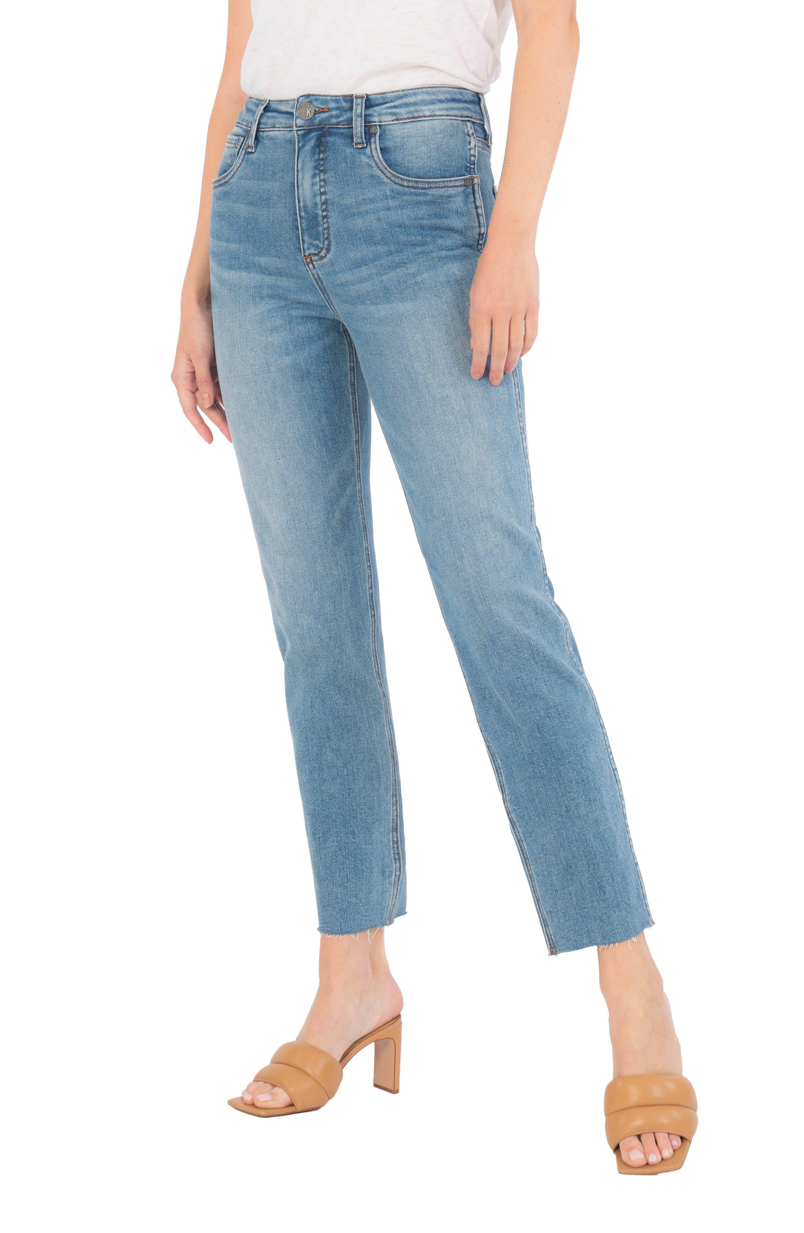 Elizabeth Fab Ab High Waist Raw Hem Ankle Straight Leg Jeans