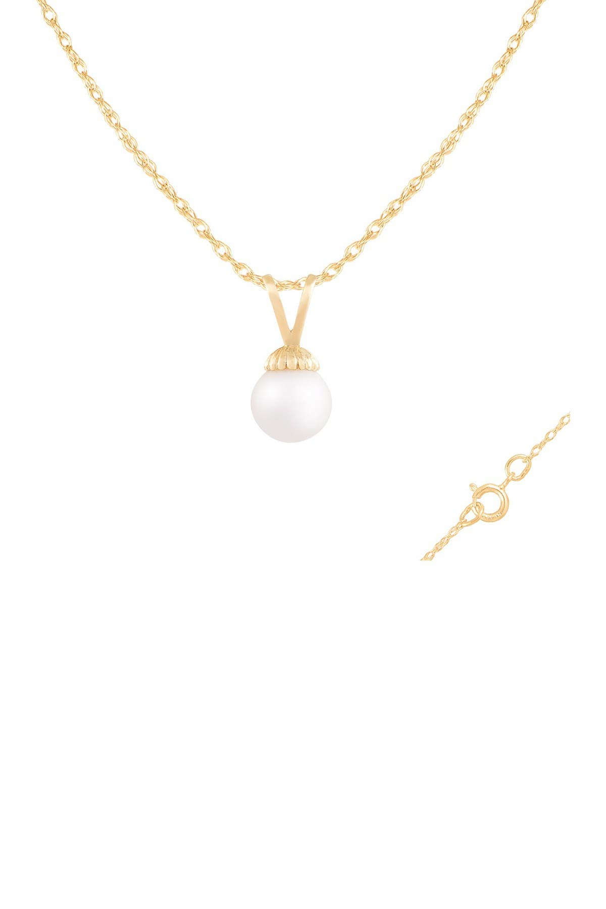 Image of Splendid Pearls 14K Yellow Gold 7-7.5mm Freshwater Pearl Pendant Necklace