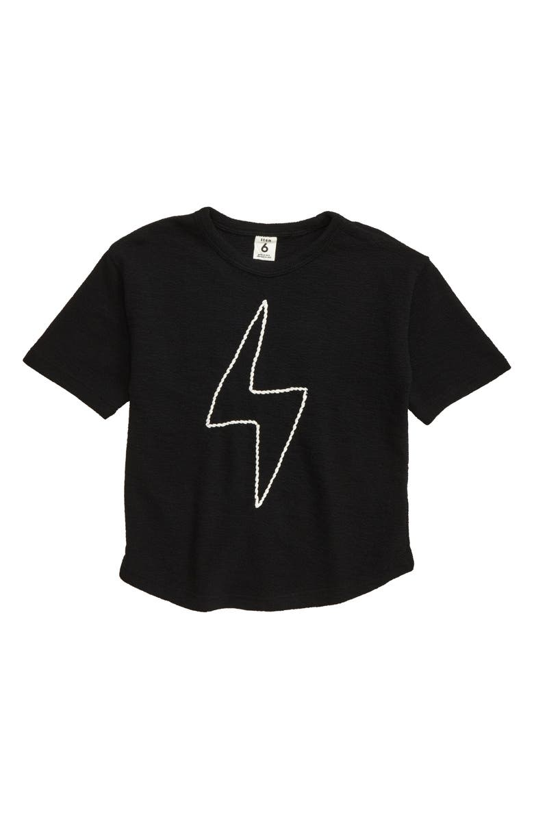 STEM Embroidered Bolt Knit Shirt, Main, color, BLACK BOLT