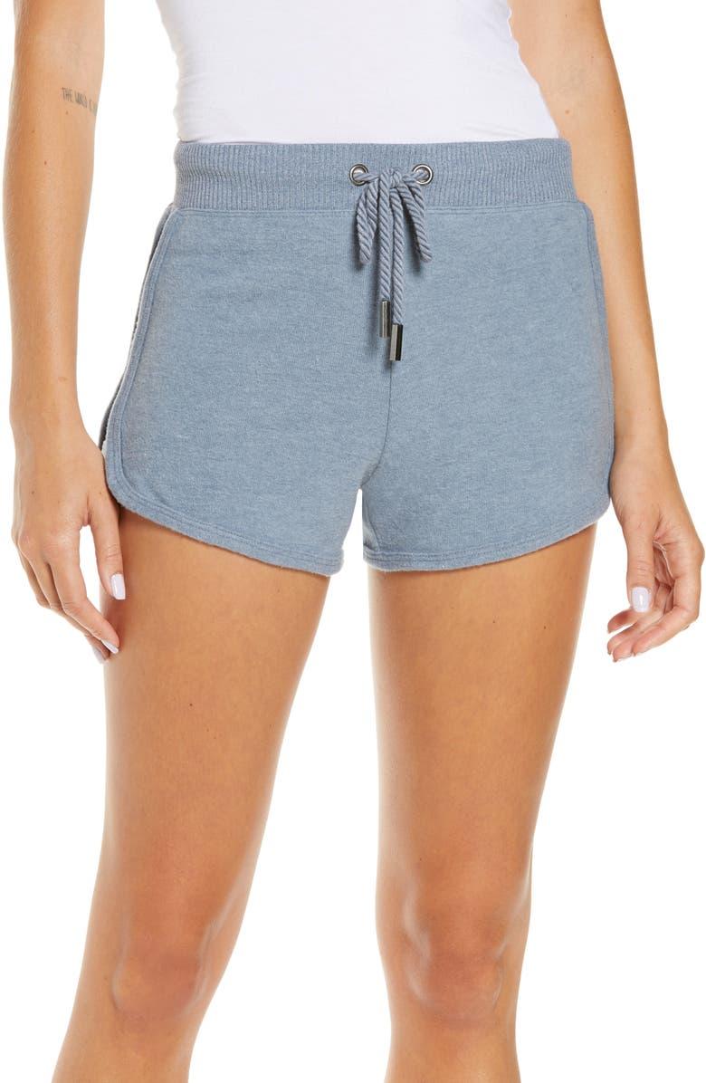 VINTAGE HAVANA Rib Hacci Tie Waist Shorts, Main, color, BALI BLUE