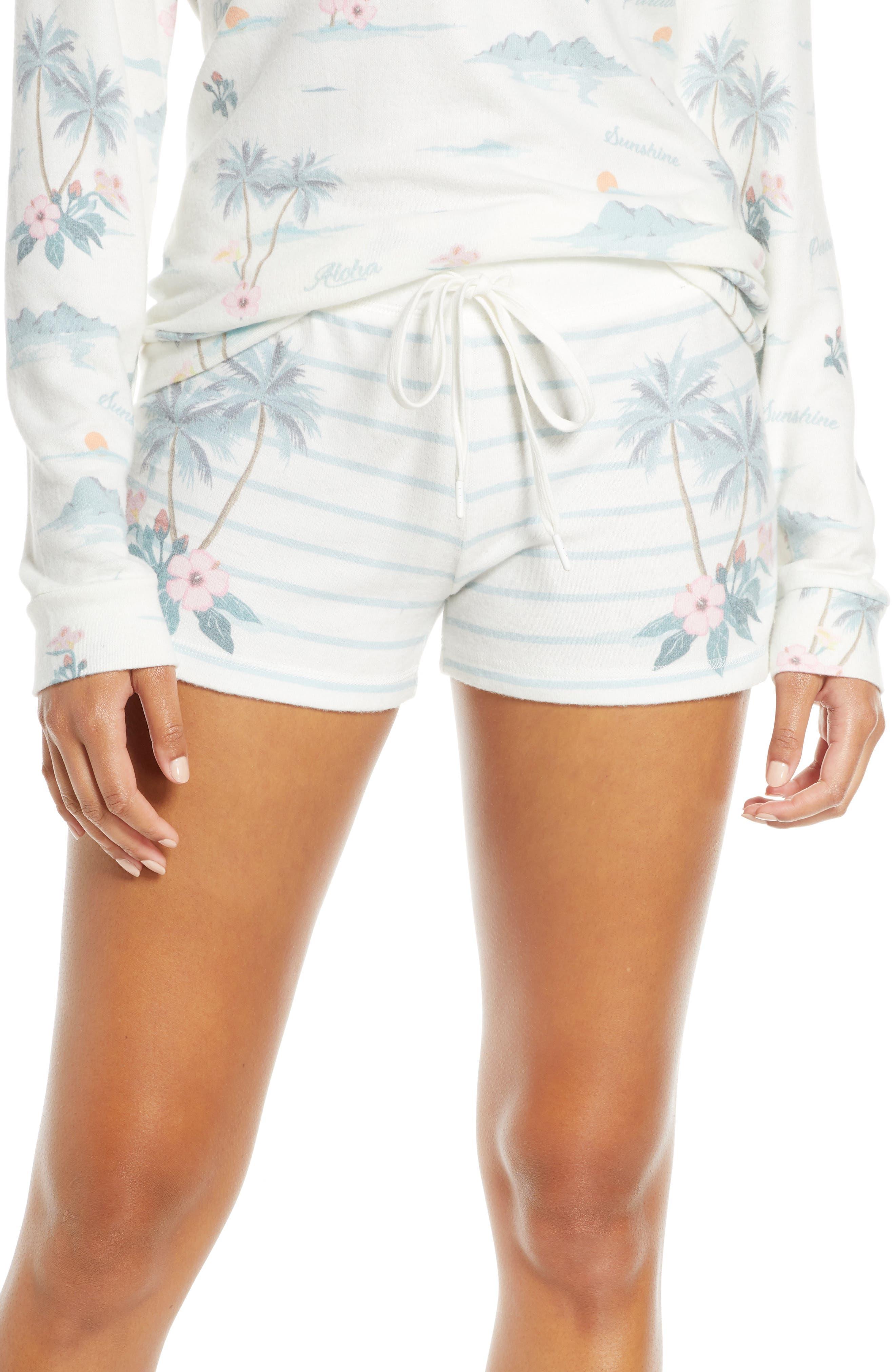 Pj Salvage Paradise Dream Stripe Pajama Shorts, Ivory