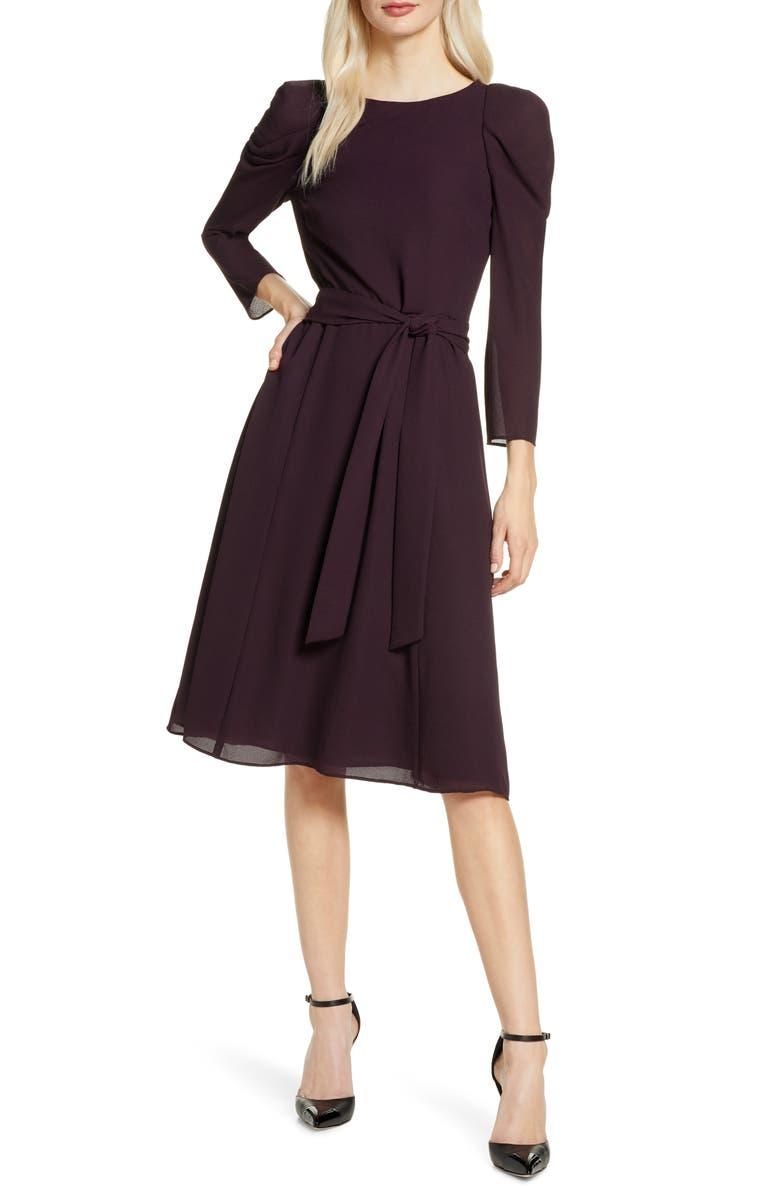 CHELSEA28 Bracelet Sleeve Fit & Flare Dress, Main, color, BURGUNDY