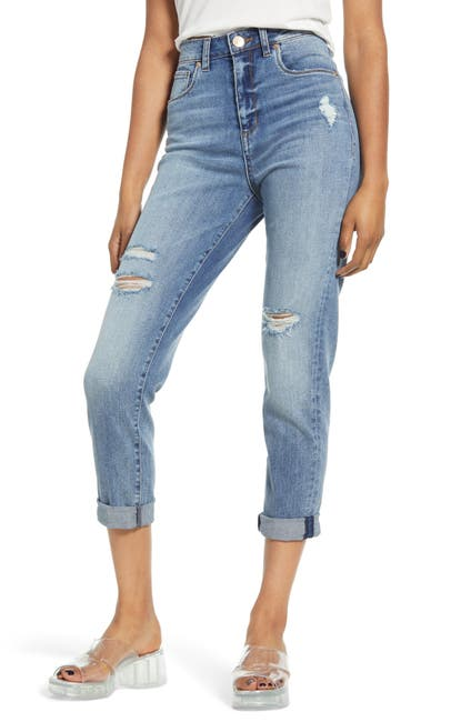 Image of STS BLUE Allison Distressed Cuff Hem Mom Jeans