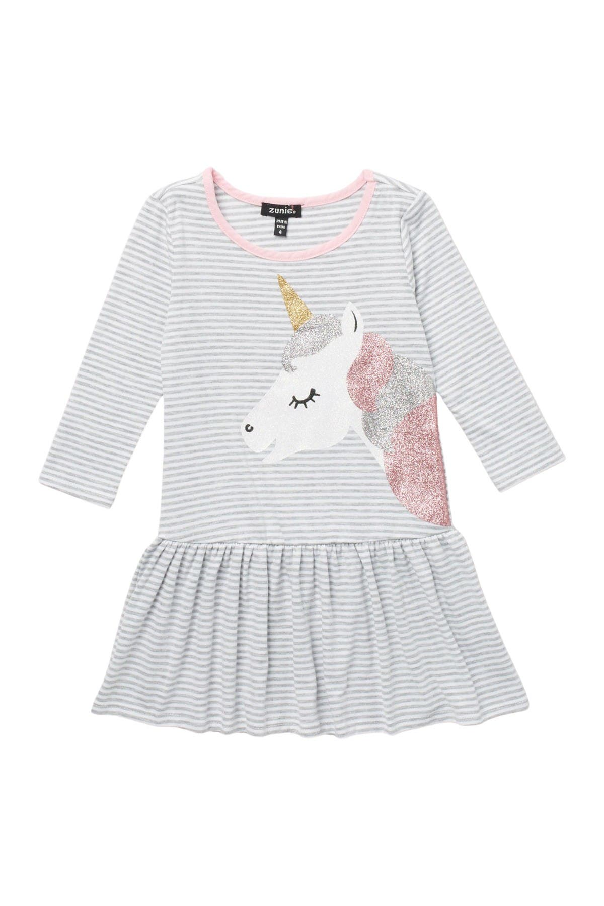 Image of Zunie Glitter Unicorn Striped Long Sleeve Dress