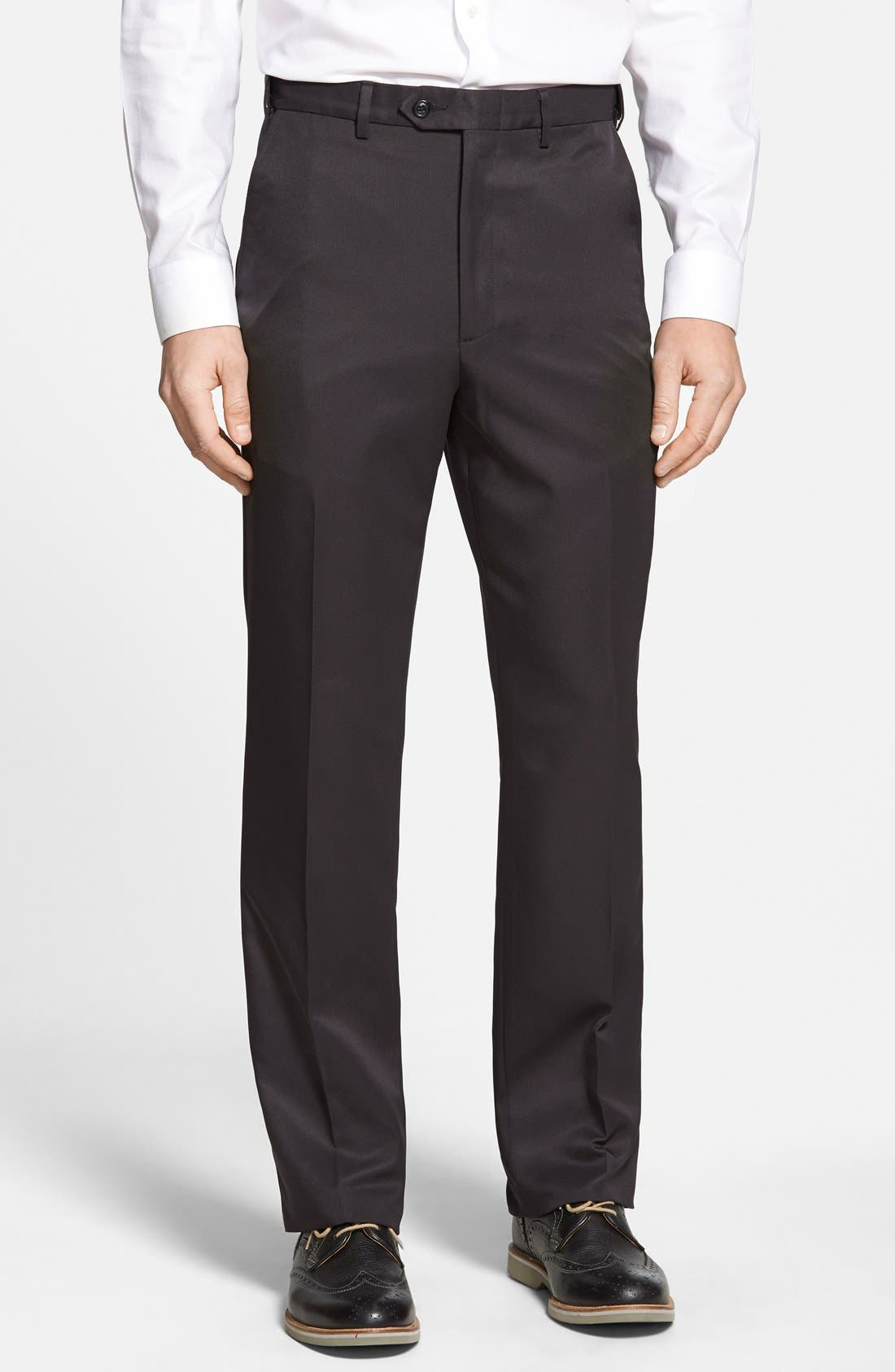 A clean flat-front cut styles sharp trousers fashioned from durable synthetics and fitted with a self-sizer waistband to ensure a custom fit. Style Name: Berle Self Sizer Waist Flat Front Classic Fit Trousers. Style Number: 1140773. Available in stores.