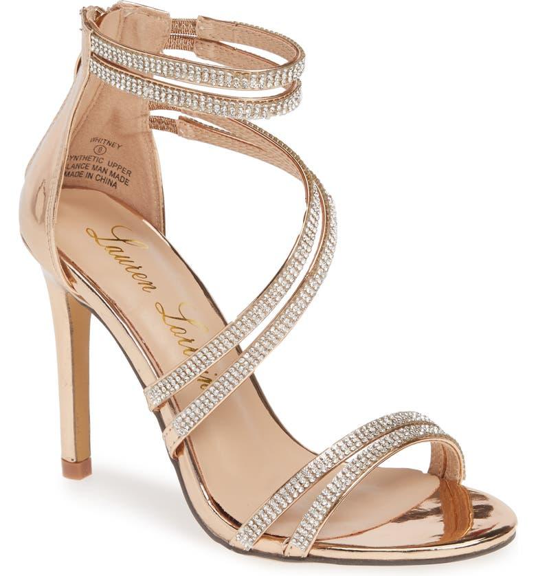 LAUREN LORRAINE Whitney Crystal Embellished Sandal, Main, color, ROSE GOLD FABRIC