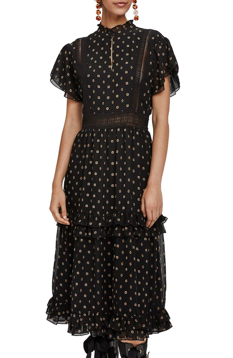SCOTCH & SODA Ruffle Dot Party Dress, Main, color, COMBO Z
