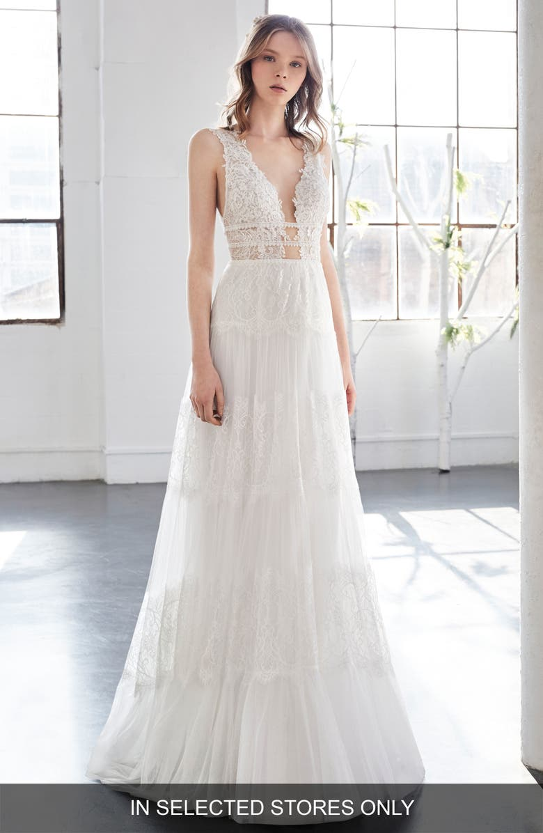 INMACULADA GARCÍA Olivinia Lace A-Line Gown, Main, color, 900