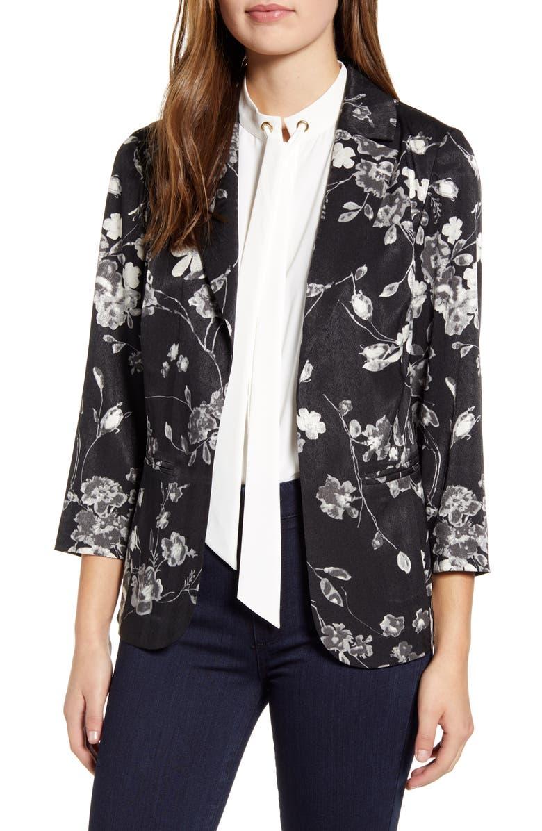 MING WANG Floral Jacket, Main, color, BLACK/FLORAL PRINT