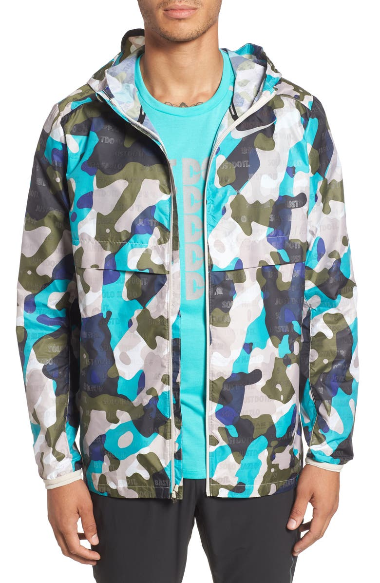 NIKE Shield Ghost Logo Running Jacket, Main, color, HYPER JADE/ DESERT SAND