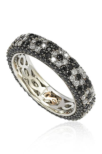 Image of Suzy Levian Sterling Silver CZ Black & White Flower Eternity Band Ring