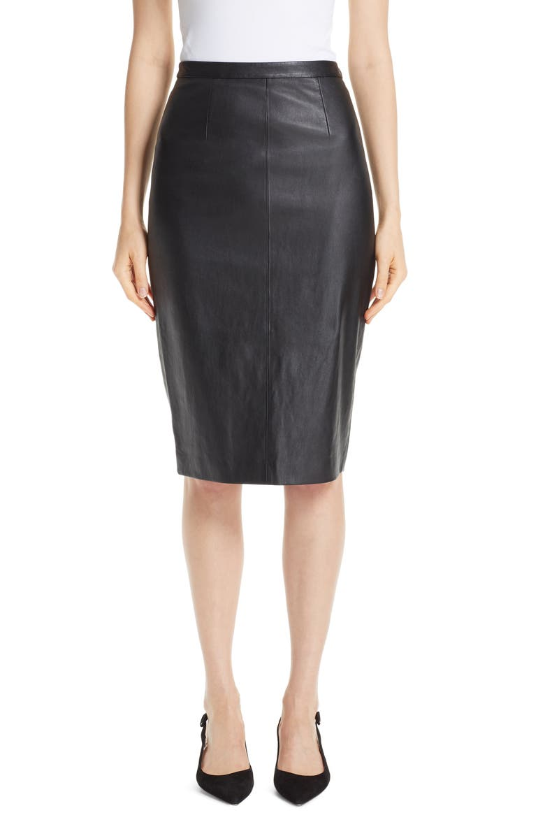 ST. JOHN COLLECTION Stretch Nappa Leather Pencil Skirt, Main, color, CAVIAR