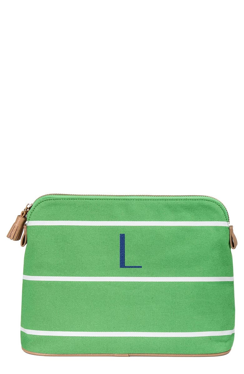CATHY'S CONCEPTS Monogram Cosmetics Case, Main, color, GREEN - L