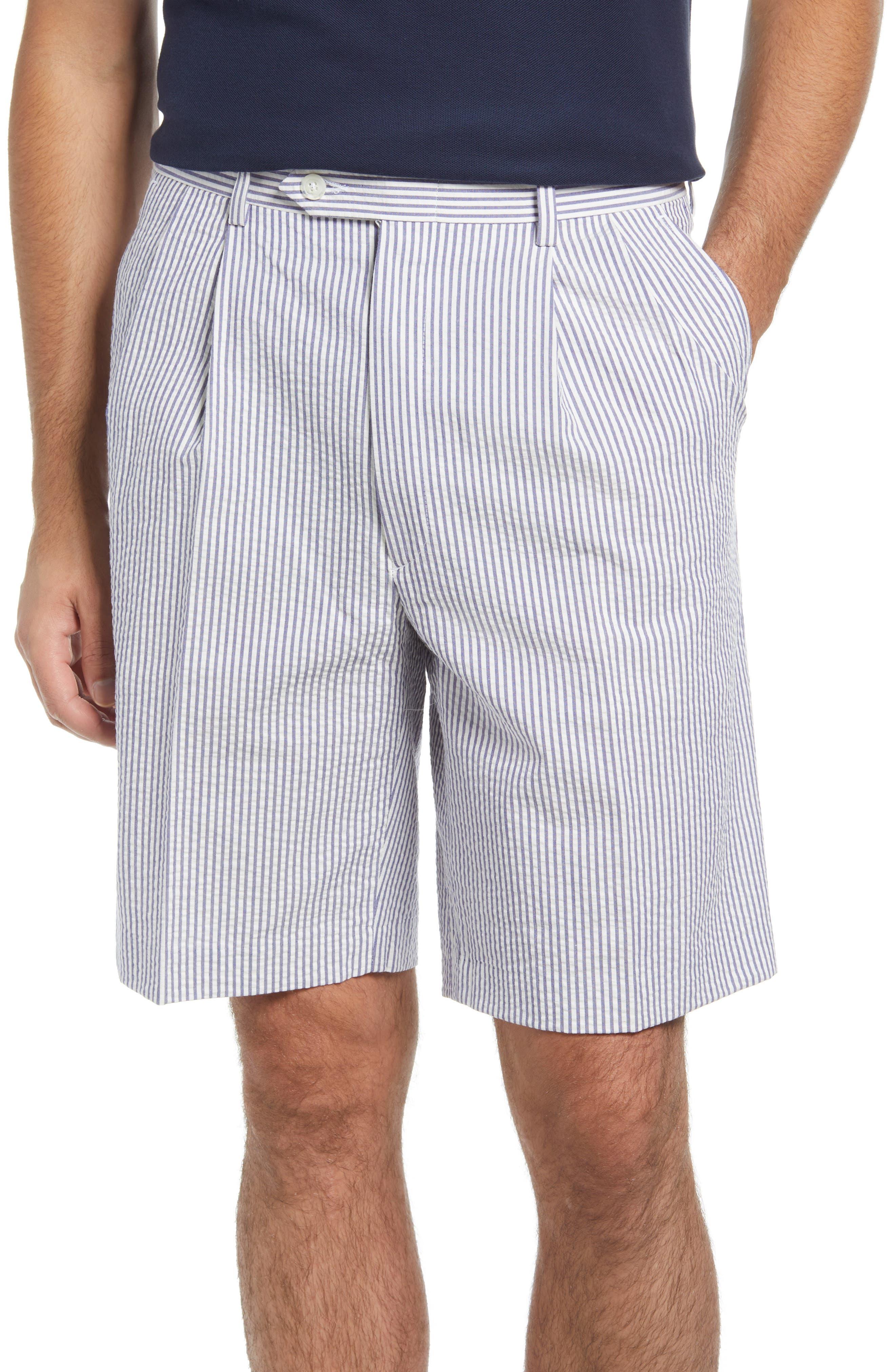 Pleated Seersucker Shorts