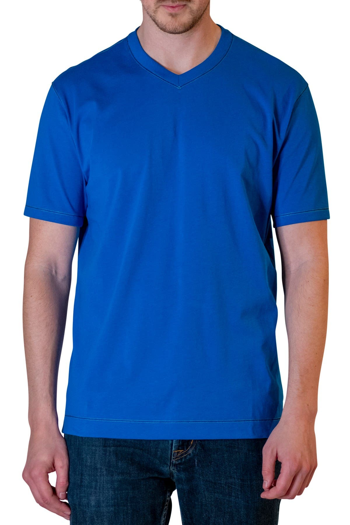 Image of Robert Graham Brice Stitch V-Neck T-Shirt