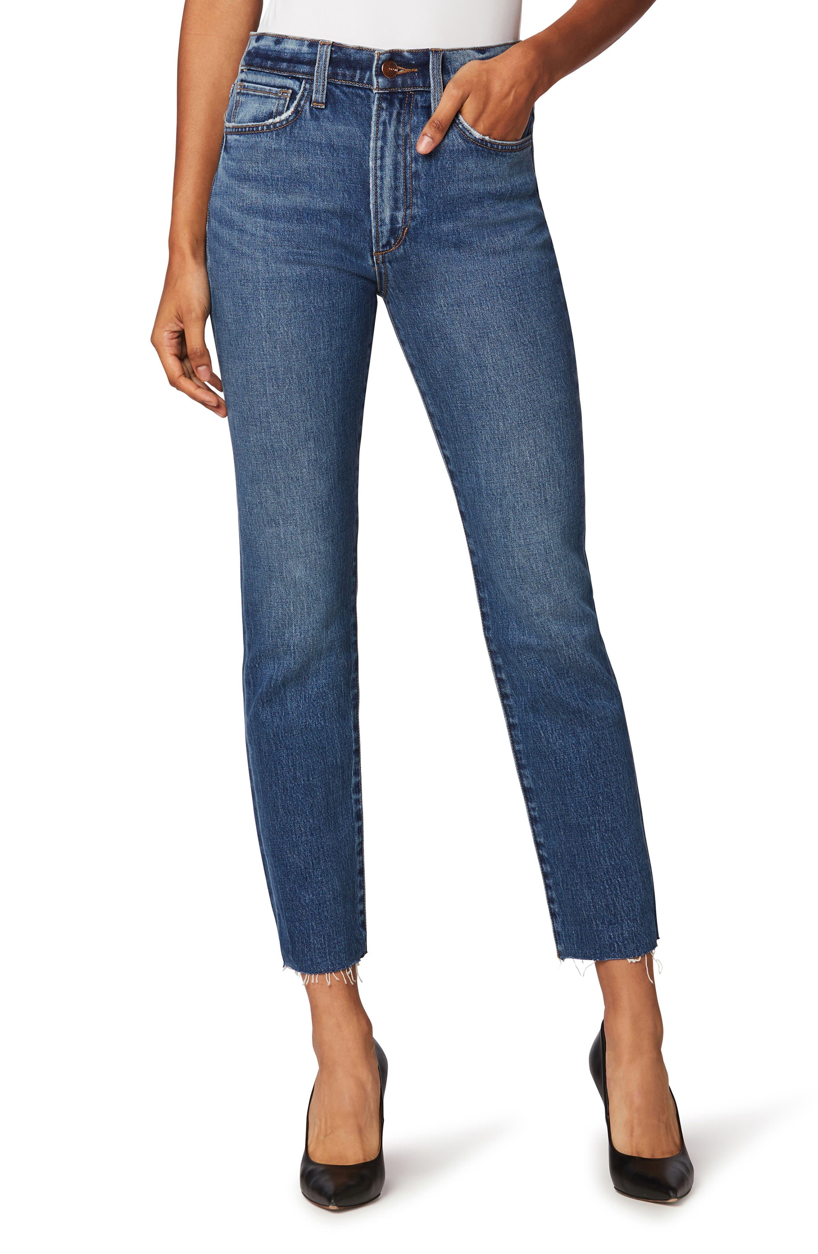 The Luna High Waist Raw Hem Ankle Straight Leg Jeans