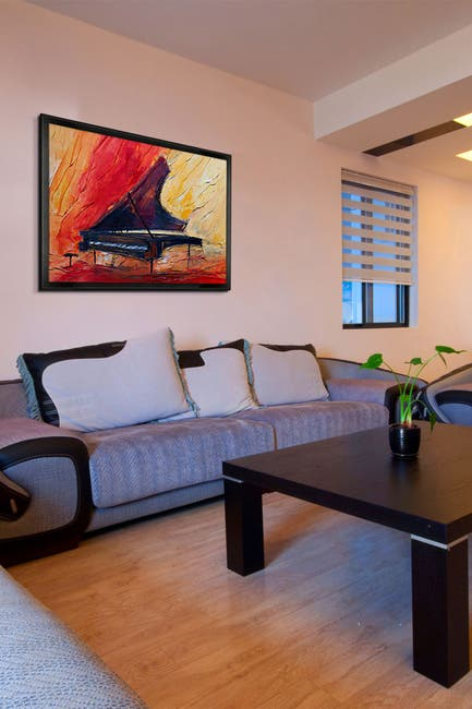 "Image of Overstock Art Piano with Studio Black Wood Angle Frame - 26.5"" x 38.5"""
