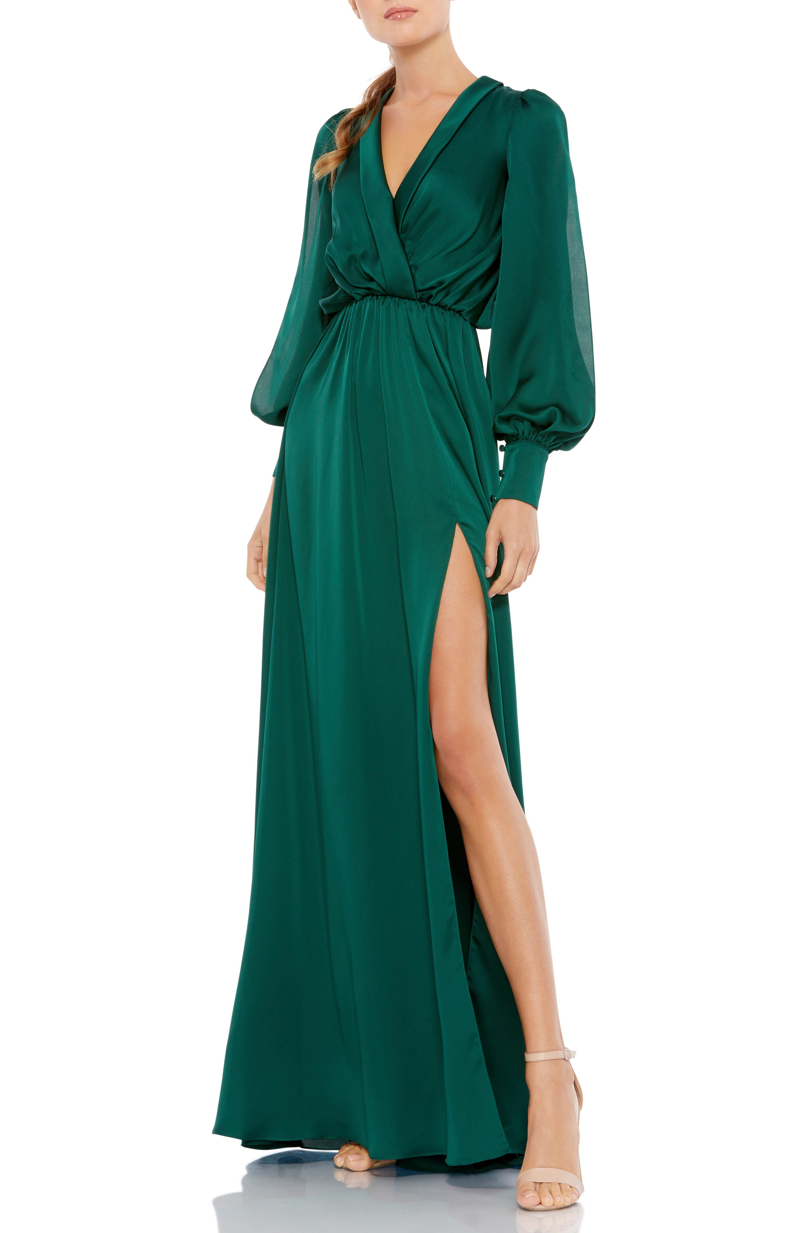 Long Sleeve Faux Wrap Satin Gown