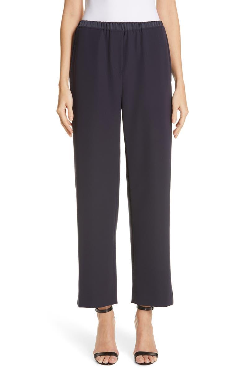 EMPORIO ARMANI Satin Waist Pajama Pants, Main, color, BLU ZEN