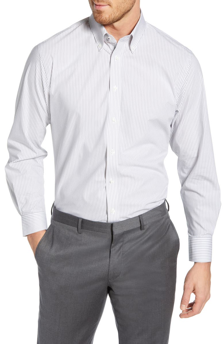 NORDSTROM MEN'S SHOP Tech-Smart Traditional Fit Stretch Stripe Dress Shirt, Main, color, GREY SLEET