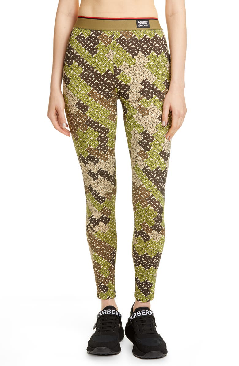 BURBERRY Turama TB Monogram Camo Print Leggings, Main, color, KHAKI GREEN IP PAT