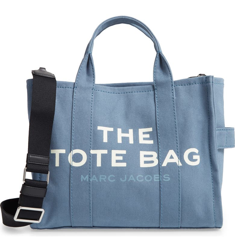THE MARC JACOBS Small Traveler Canvas Tote, Main, color, BLUE SHADOW