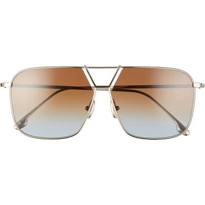 Victoria Beckham 60mm Gradient Aviator Sunglasses - Gold/ Brown Teal