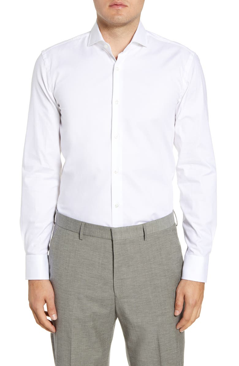 BOSS Slim Fit Stretch Solid Dress Shirt, Main, color, WHITE