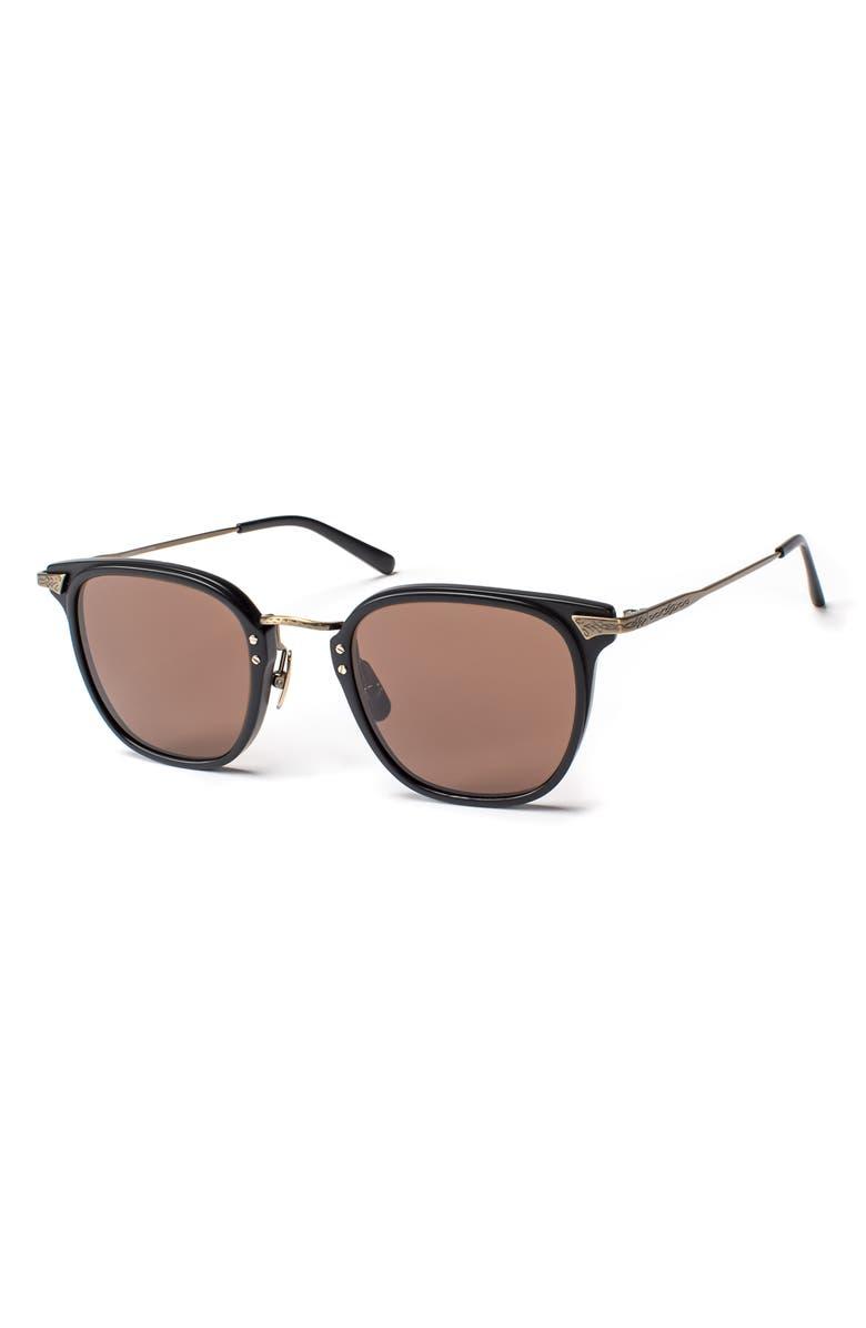 SALT. Hamilton 48mm Polarized Sunglasses, Main, color, MATTE BLACK / ANTIQUE GOLD