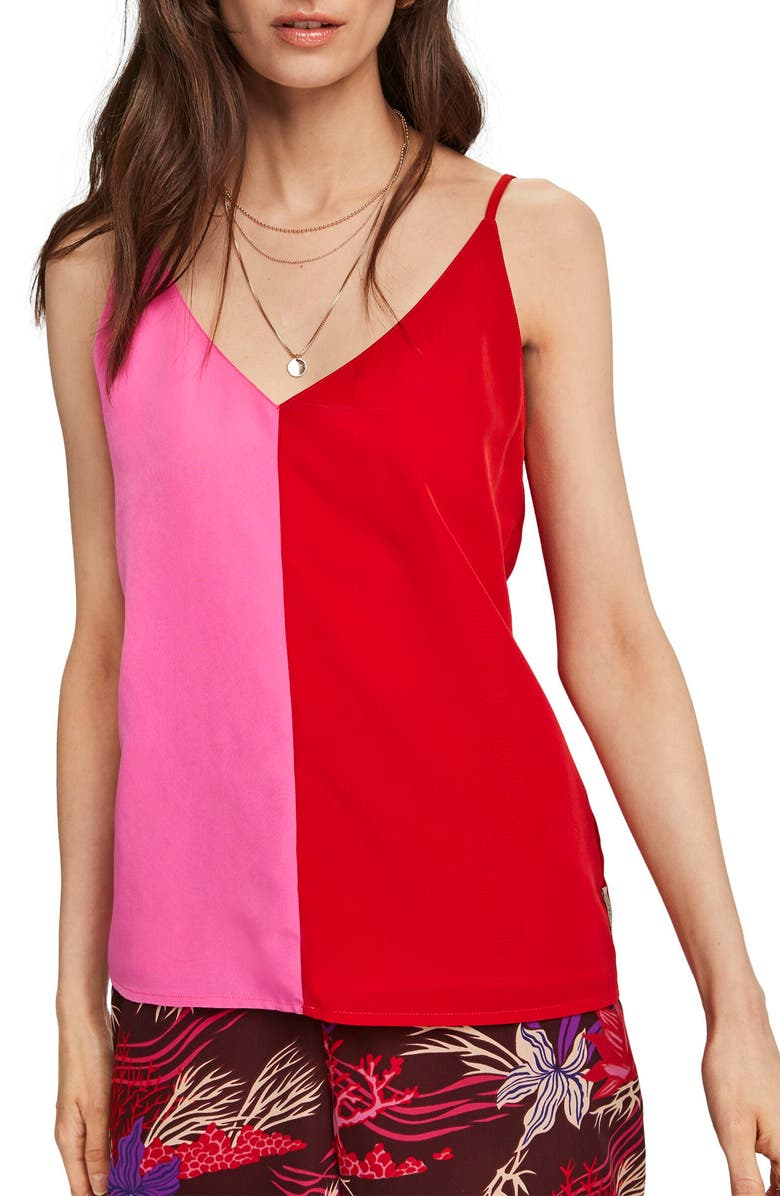 SCOTCH & SODA Colorblock Tank, Main, color, PINK AND RED