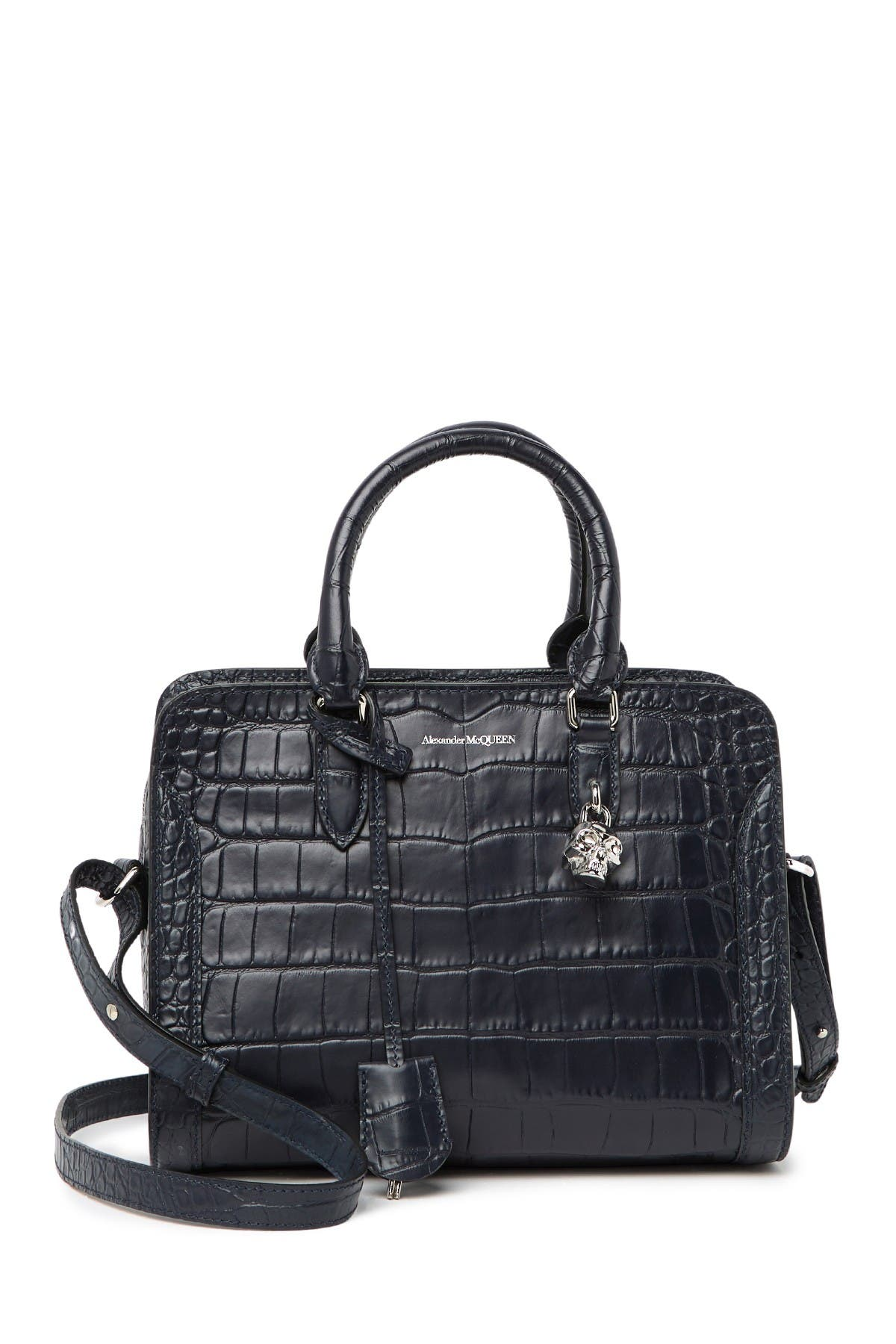 Image of Alexander McQueen Croc Embossed Leather Small Zip Shoulder Bag