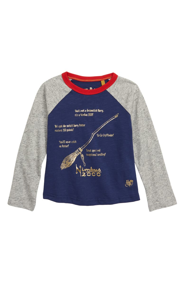 MINI BODEN Harry Potter Broom Facts Baseball T-Shirt, Main, color, 404