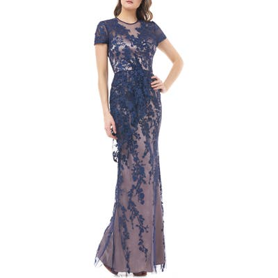 Js Collections Vine Embroidered Tulle Gown, Blue