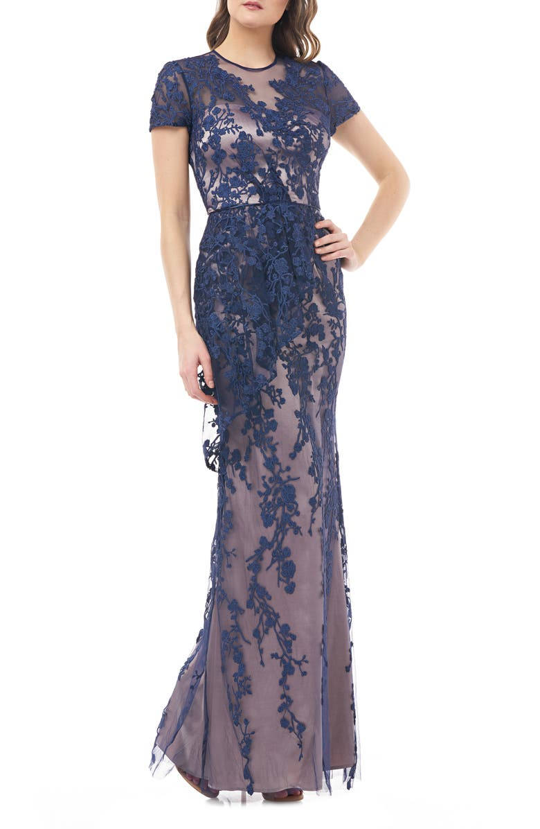 JS COLLECTIONS Vine Embroidered Tulle Gown, Main, color, NAVY NUDE