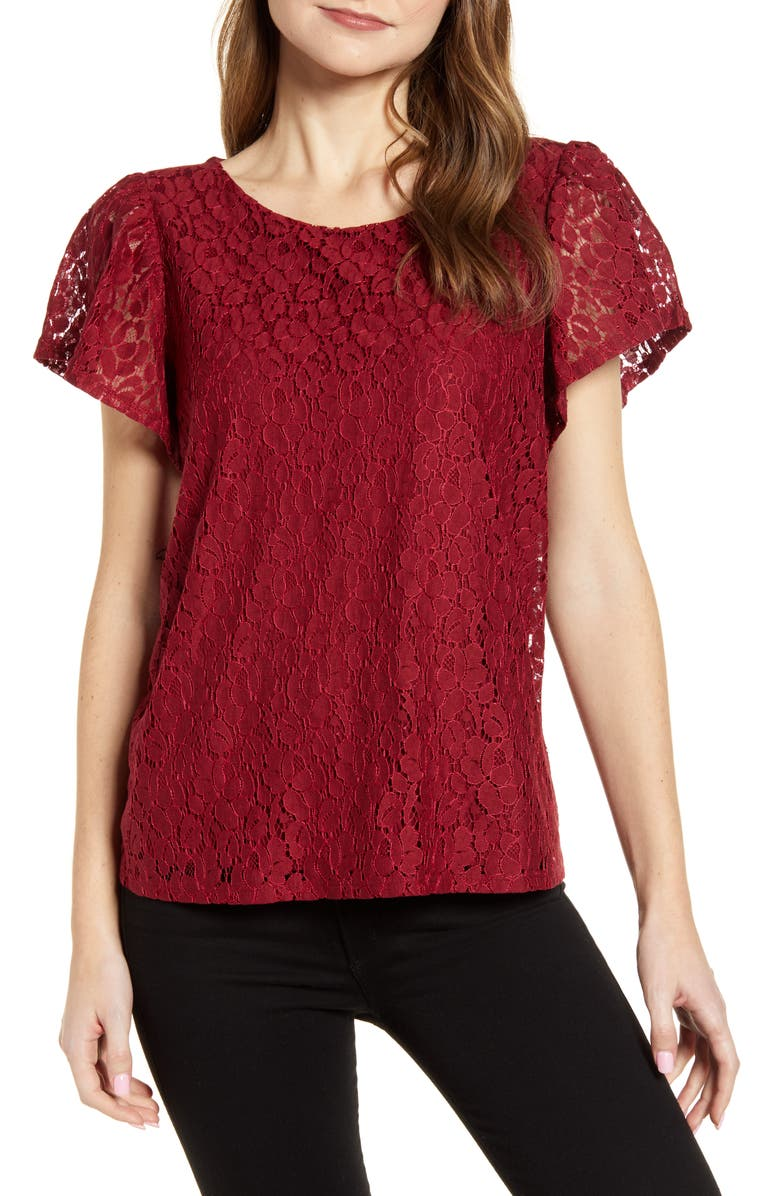 GIBSONLOOK Gibson Glam Flutter Sleeve Lace Front Cotton Blend Top, Main, color, 600