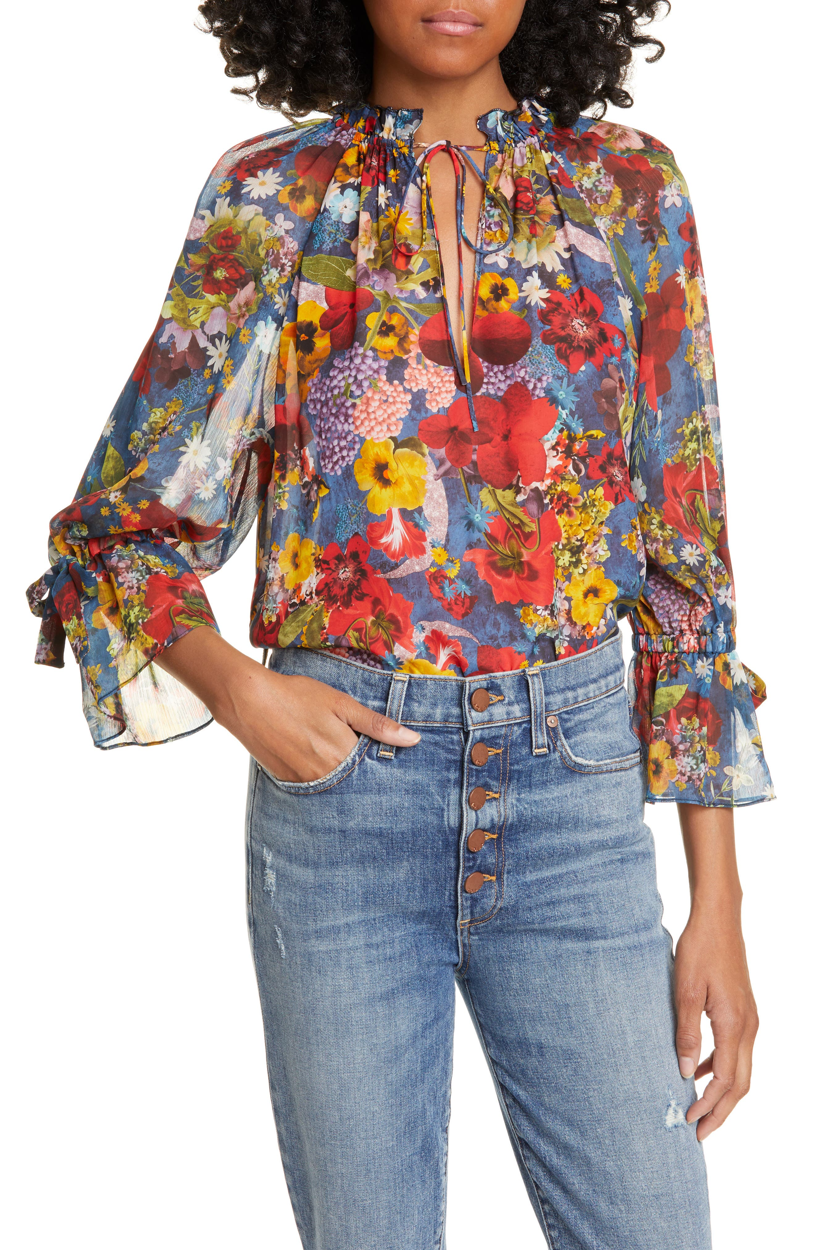 Women's 70s Shirts, Blouses, Hippie Tops Womens Alice  Olivia Julius Floral Print Raglan Sleeve Blouson Tunic $265.00 AT vintagedancer.com