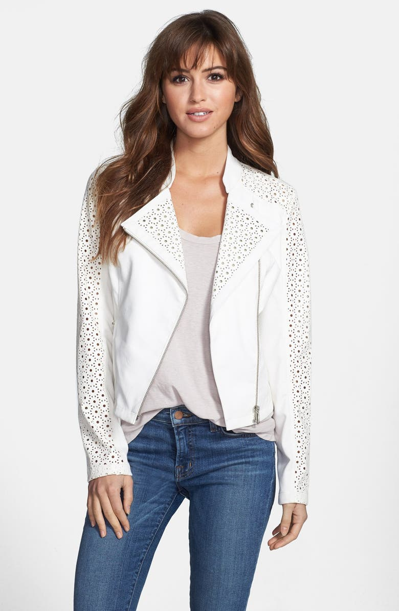 STEVE MADDEN Perforated Sleeve Faux Leather Moto Jacket, Main, color, 101
