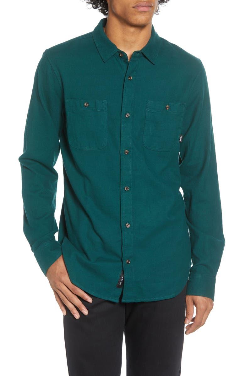 VANS Banfield III Solid Button-Up Twill Shirt, Main, color, VANS TREKKING GREEN
