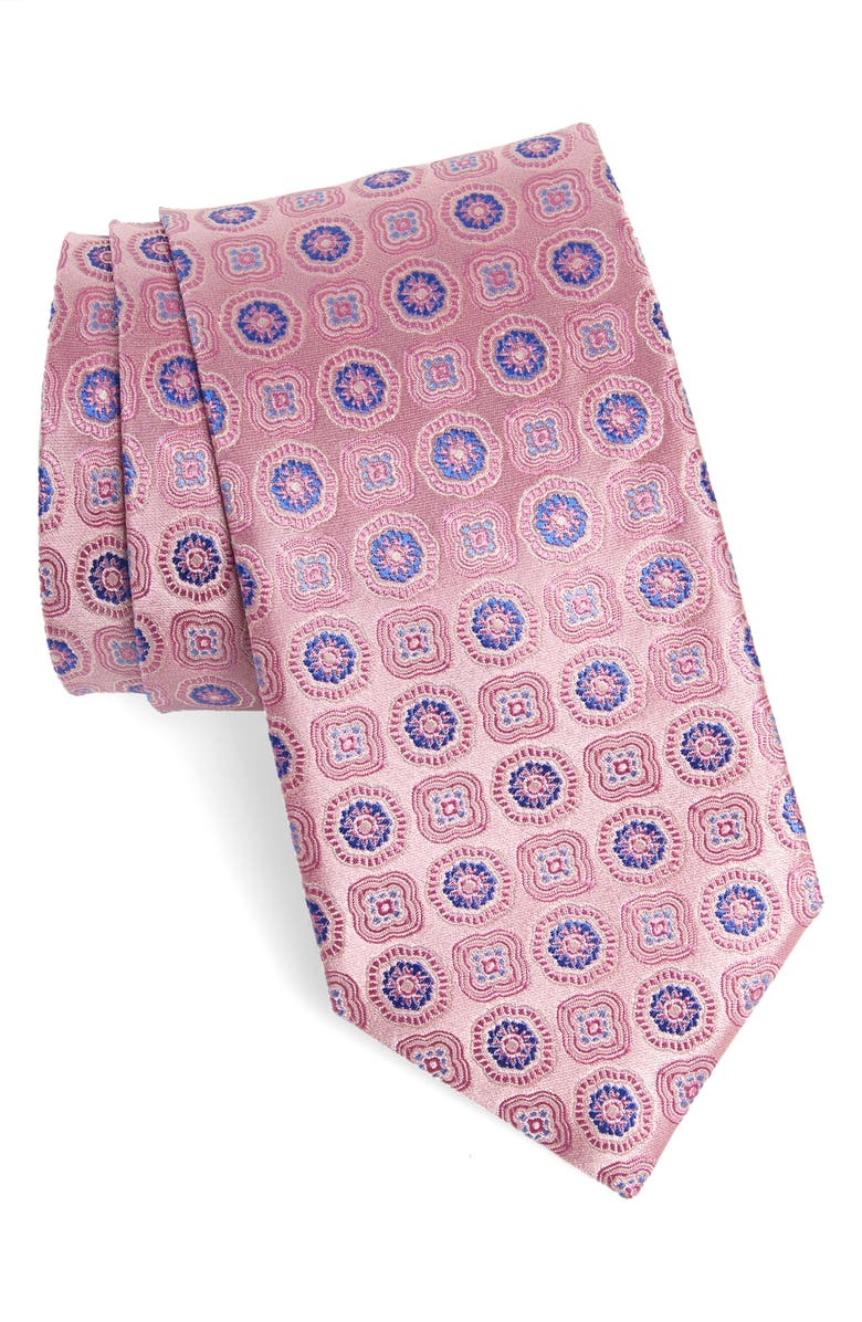 CANALI Floral Medallion Silk X-Long Tie, Main, color, PINK