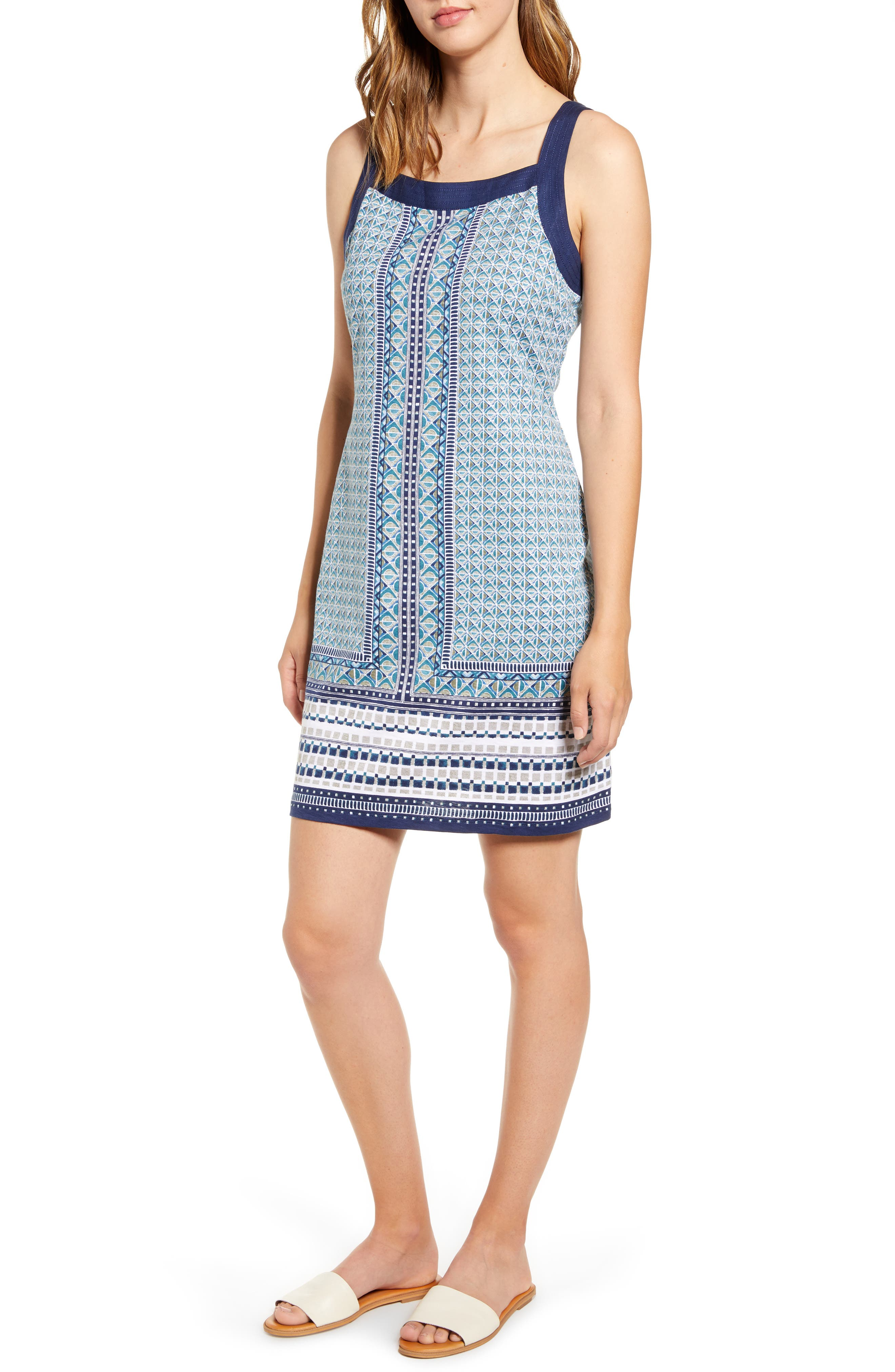 Tommy Bahama Geo Mesa Shift Dress, Blue/green