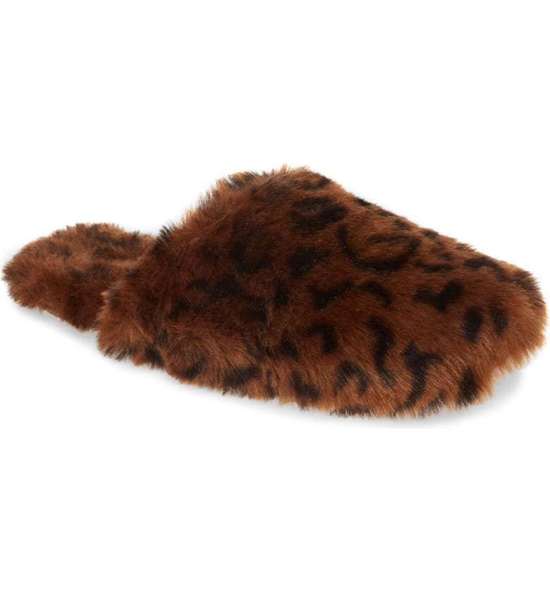 MADEWELL Faux Fur Animal Print Slipper, Main, color, 200