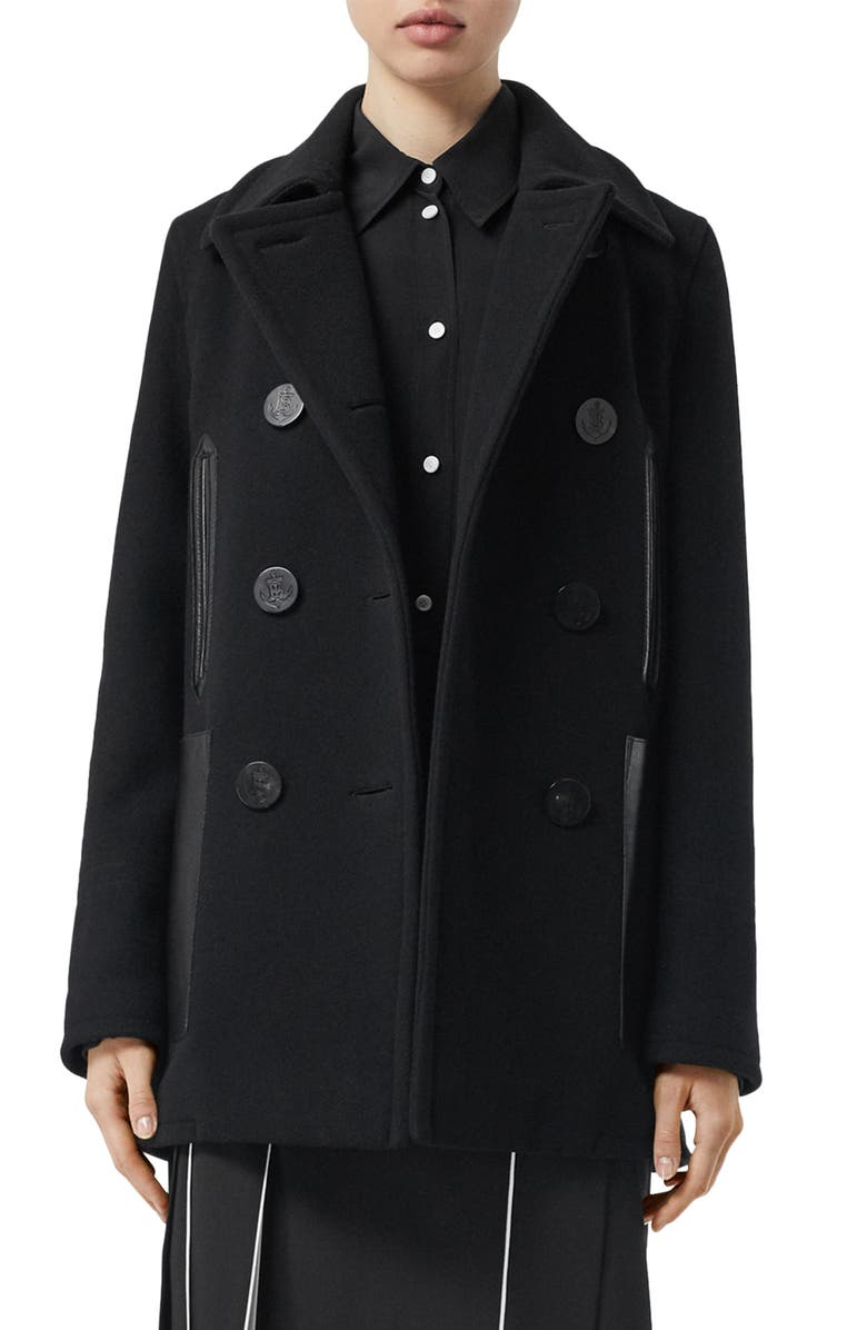 BURBERRY Leather Pocket Peacoat, Main, color, BLACK