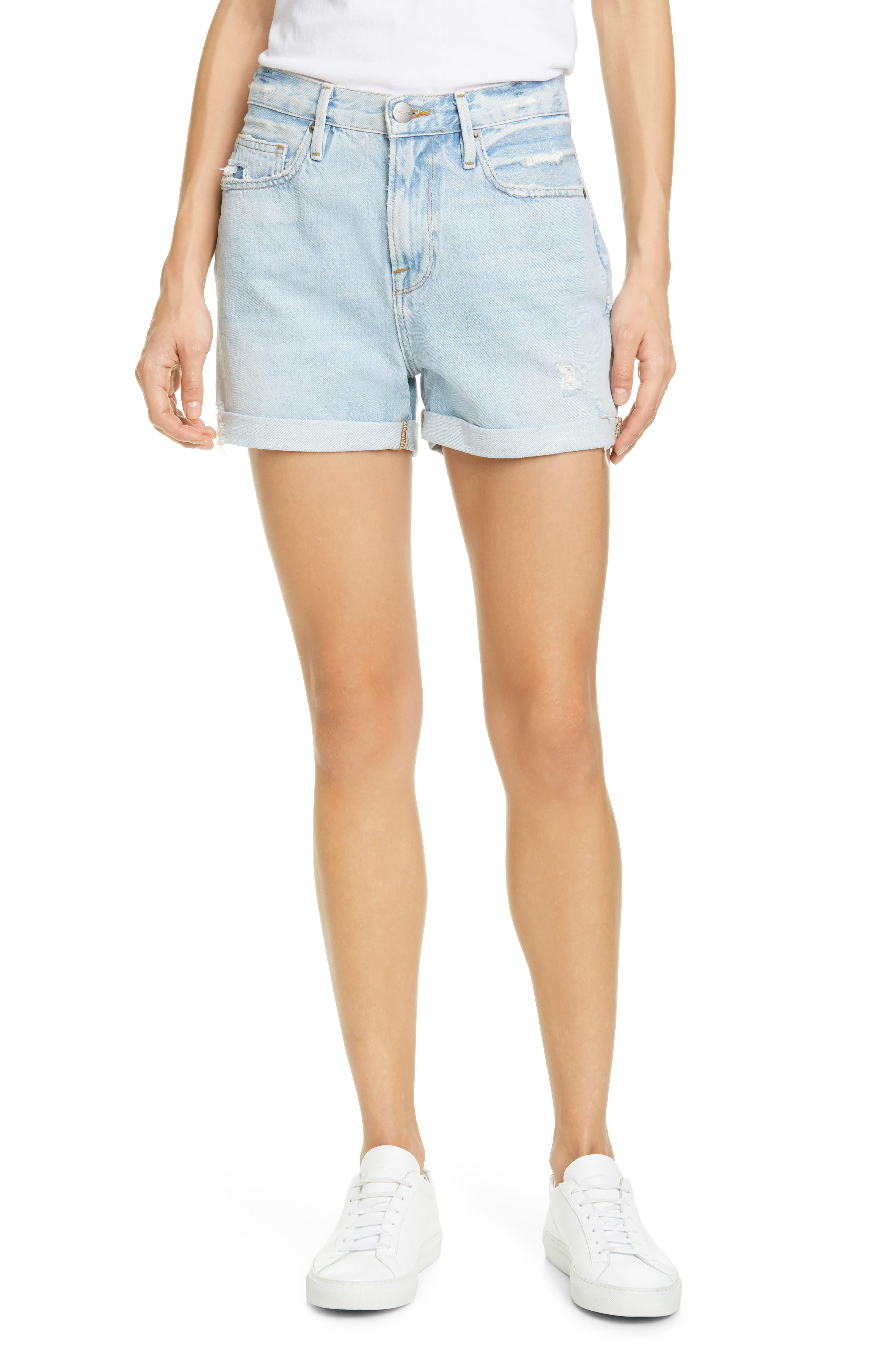 Women's Frame Le Beau Distressed High Waist Denim Shorts