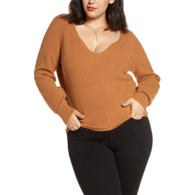 Plus Size Leith Shaped Neck Sweater, Brown