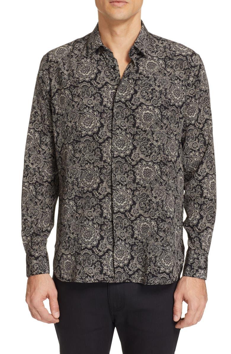 SAINT LAURENT Couer Pattern Silk Shirt, Main, color, BLACK