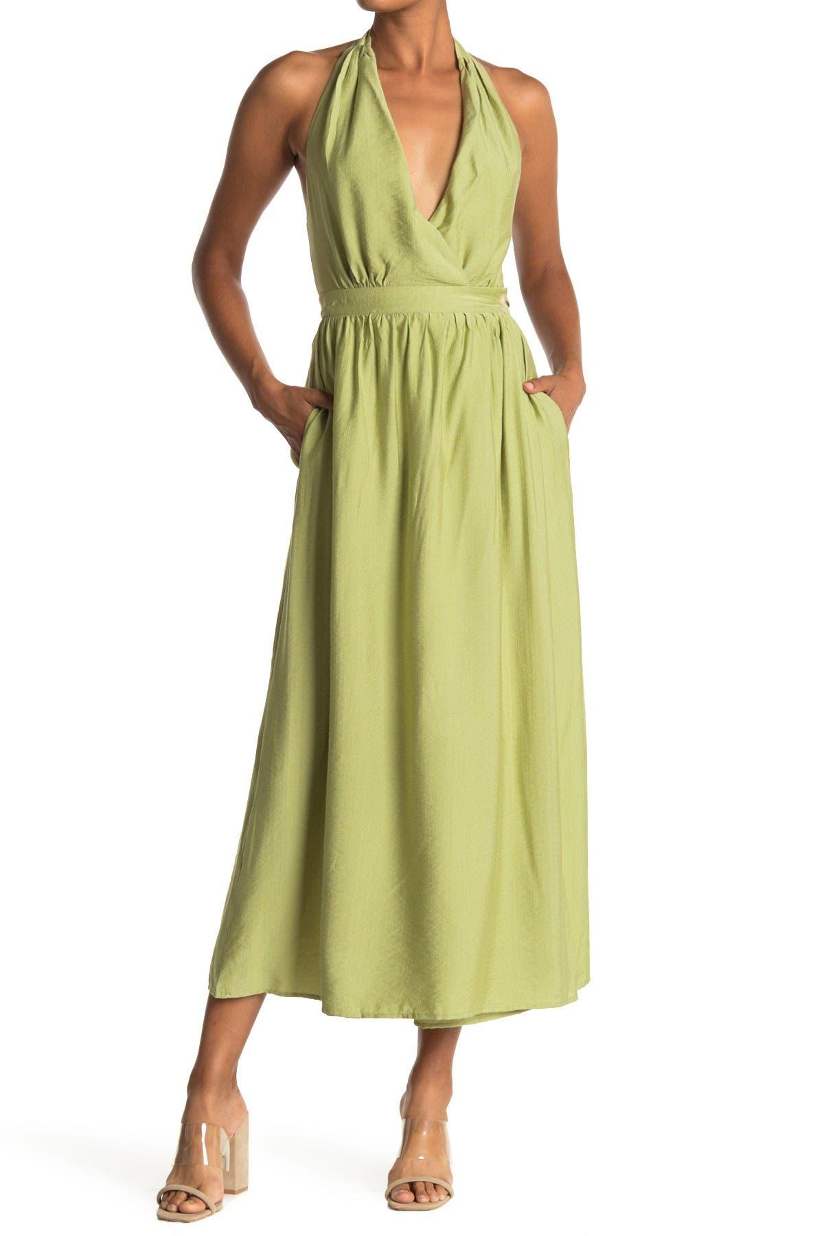 Image of Lush Halter Neck Wrap Maxi Dress